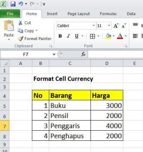 Format Cell Currency/Mata Uang