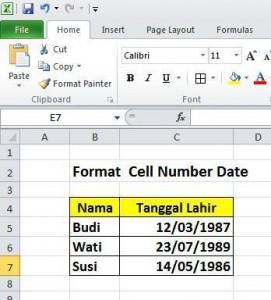 Format Cell Date/Tanggal Pada Excel