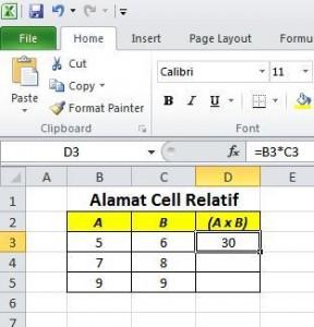 Alamat Cell Relatif