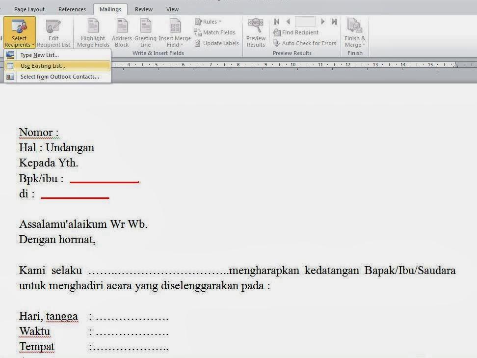 Mencetak Undangan Berbeda Nama Alamat Otomatis Mail Merge
