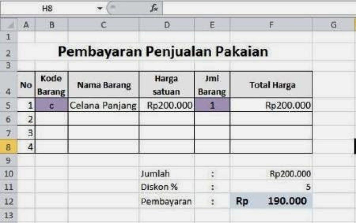 Membuat Format Penjualan Dengan Vlookup Pada Excel Belajar Office