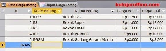 Database Harga Barang