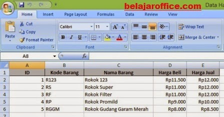 Hasil Export Data