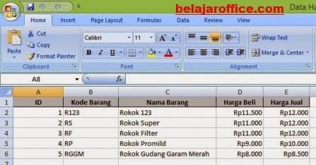Hasil Export Data