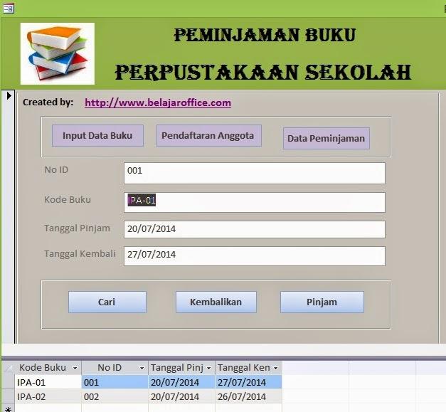 Form Peminjaman Buku Perpustakaan
