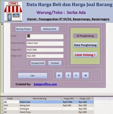 Database Barang Warung
