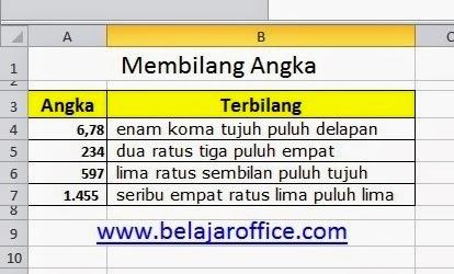 Membilang Angka Dengan Mudah Dan Praktis Pada Excel