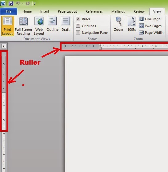how to get margin ruler on word