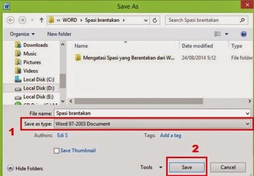 Simpan file dengan type Word 97-2003