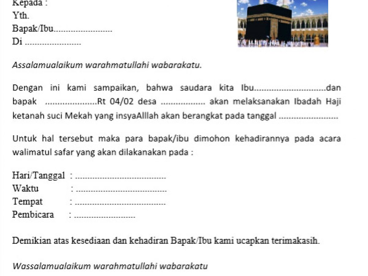 Contoh Surat Undangan Syukuran Keberangkatan Haji Walimatus Safar Belajar Office