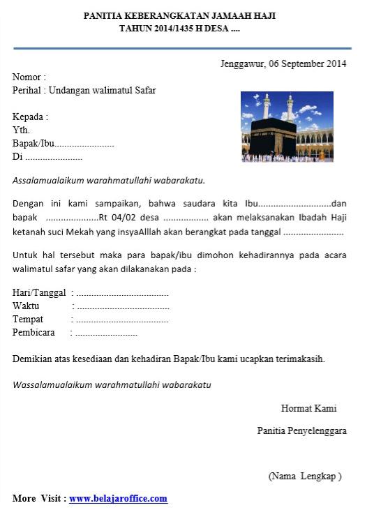 Contoh Surat Undangan Syukuran Keberangkatan Haji Walimatus