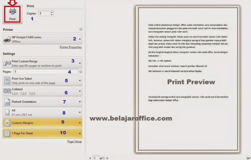 Cara Mencetak atau Print Dokumen MS Word 2010