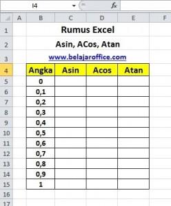 Rumus Excel Asin, Acos, Atan