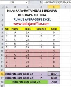 Hasil Rumus Averageifs Excel