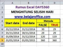 Rumus Excel Days360