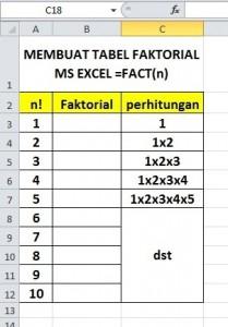 Buat Tabel Faktorial Excel