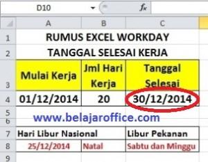 Hasil Rumus Excel Workday