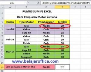 Hasil Rumus Sumifs Excel