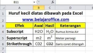 Huruf kecil diatas dibawah pada Excel