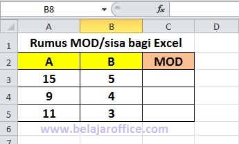 Rumus MOD pada Excel