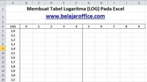 Membuat tabel logaritma excel