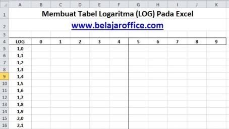Membuat Tabel Logaritma Log Pada Excel