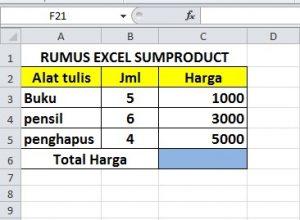 RUMUS SUMPRODUCT EXCEL