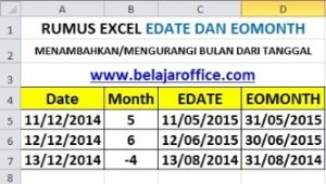 Rumus Excel Edate dan Eomonth