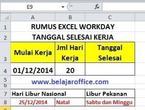 Rumus Excel Workday