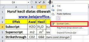 format cell excel