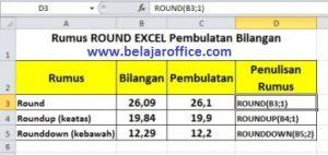 Rumus Round Excel Pembulatan Bilangan