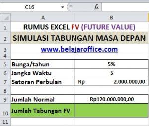 RUMUS EXCEL FV (FUTURE VALUE)