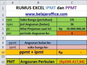 RUMUS EXCEL PPMT DAN IPMT