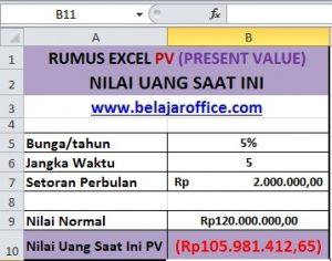 RUMUS EXCEL PV (PRESENT VALUE)