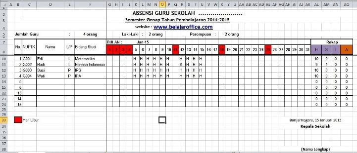 Download Format Absensi Guru Excel