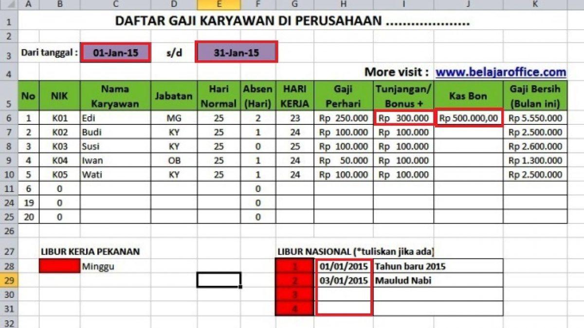Download Format Menghitung Gaji Karyawan Rumus Excel Belajar Office