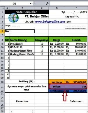 Rumus Excel Hitung Diskon Penjualan Otomatis