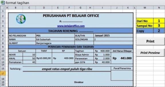 Membuat Format Print Tagihan Excel Macro