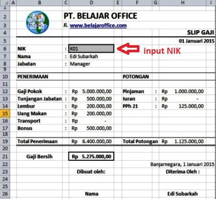 Membuat Slip Gaji Menggunakan Rumus Excel