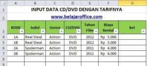 Input data CD dan DVD