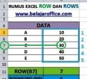 Rumus Excel ROW DAN ROWS