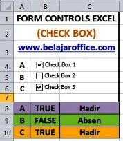 Check Box digabung Rumus Excel IF