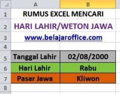 Hari Lahir Weton Rumus Excel
