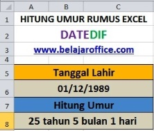 Hitung Umur Rumus Excel DateDif