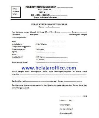 Contoh Surat Keterangan Pengantar Rt