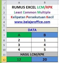 Rumus Excel LCM atau KPK