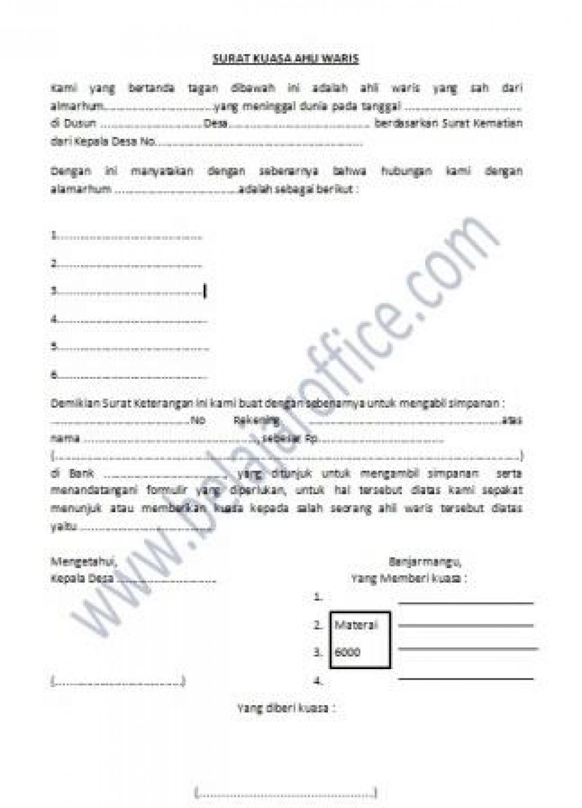 Contoh Surat Kuasa Pelunasan Kredit Bank - Download ...