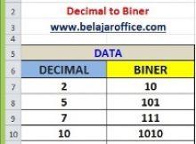 Rumus Excel Dec2Bin