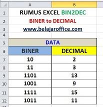 Rumus Excel BIN2DEC