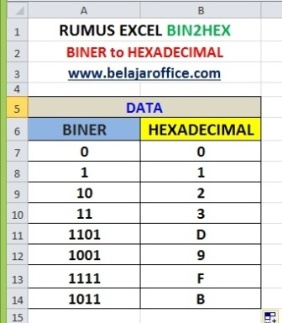 RUMUS EXCEL BIN2HEX